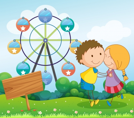 couple dating: Illustration of a couple dating near the ferris wheel and the empty wooden signboard