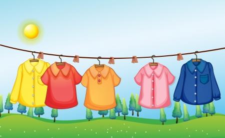 ropa colgada: Ilustración de la ropa lavada colgando bajo el sol
