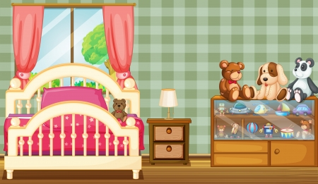 bedroom wall: Illustration of a clean bedroom with a lot of toys