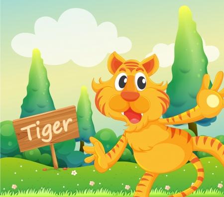 Illustration of a tiger beside a signboard Illustration