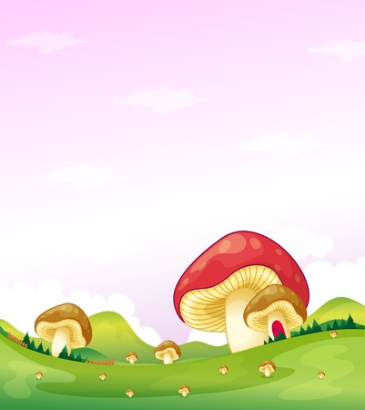 Illustration of the mushrooms in the hills Vector