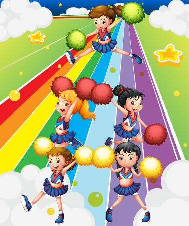 squad: Illustration of a cheering squad at the colorful street