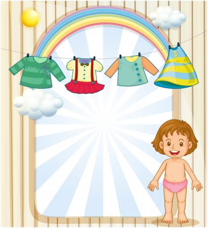 CLOTHES HANGING: Illustration of a baby below the hanging clothes Illustration