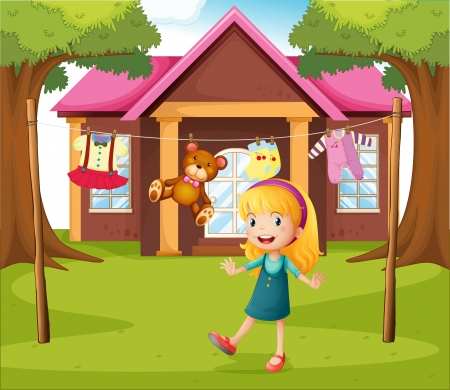 Illustration of a girl in front of their house Vector