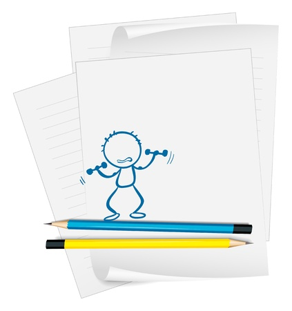 exercise book: Illustration of a paper with a sketch of a person exercising on a white background