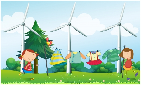 Illustration of the two girls hanging their clothes near the windmills Vector