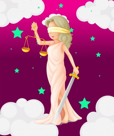 injustice: Illustration of a woman with a weighing scale and a sword