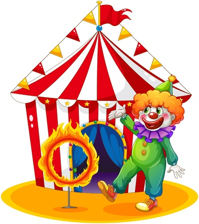 ring of fire: Illustration of a tent at the back of the clown and the ring of fire on a white background
