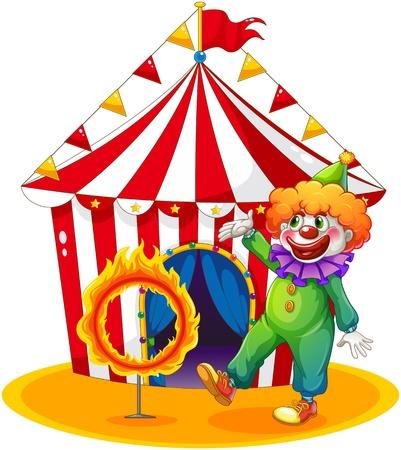 fire ring: Ilustraci�n de una tienda de campa�a en la parte posterior del clown y el anillo de fuego sobre un fondo blanco