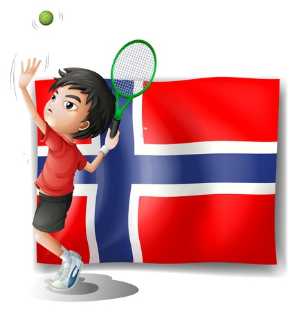 Illustration of a boy playing tennis in front of the Bouvet Island flag on a white background Vector