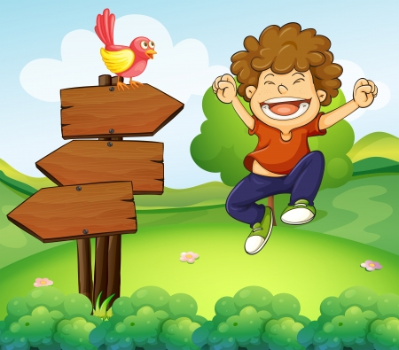 right arrow: Illustration of a happy young boy beside the three wooden arrows