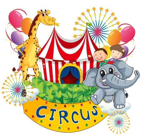 Illustratie van een circusvoorstelling met kinderen en dieren op een witte achtergrond