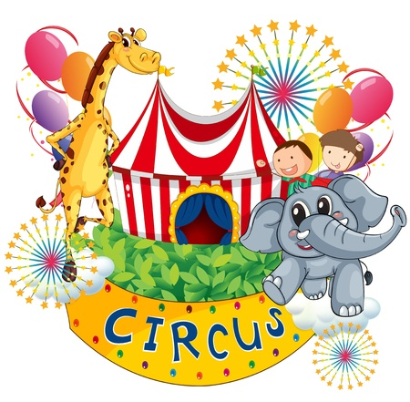 circus tent: Illustration of a circus show with kids and animals on a white background