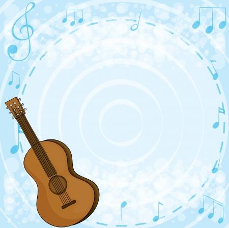 guitarra clásica: Ilustraci�n de la guitarra cl�sica marr�n