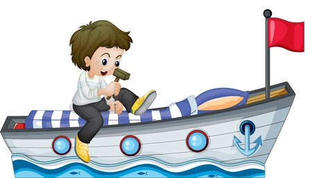Illustration of a boy riding in a boat with a red flag on a white background Vector