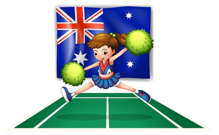 Illustration of the flag of Australia with a young cheerdancer on a white background Vector