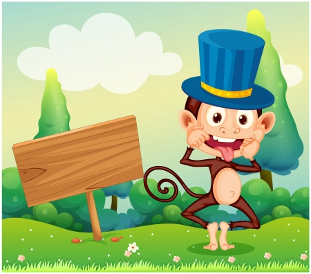 Illustration of a monkey in the hill with a wooden signboard Vector