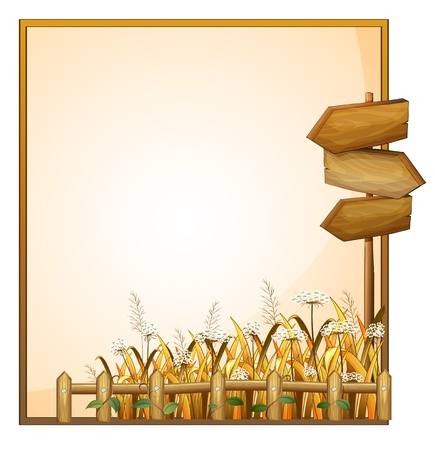 Illustration of a frame with three wooden arrows on a white background Vector