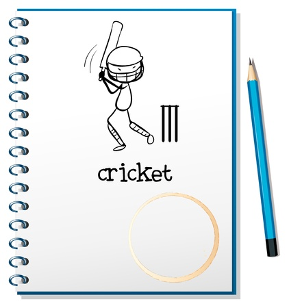 Illustration of a notebook with a sketch of a man playing cricket on a white background Vector