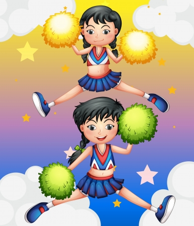 Illustration of the two cheerdancers dancing with their pom poms Vector