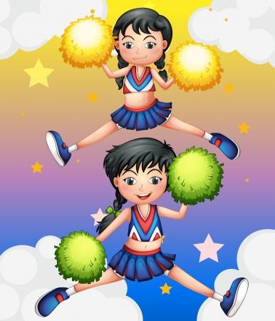 cheer leader: Ilustraci�n de las dos cheerdancers bailando con sus pompones Vectores