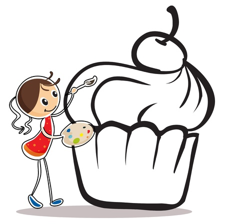 Illustration of a girl painting the cupcake on a white background Vector