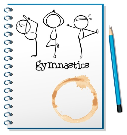Illustration of a notebook with a sketch of the three gymnasts on a white background Vector