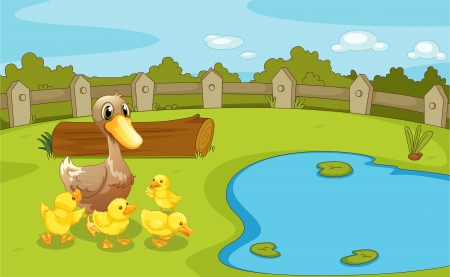 bush babies: Illustration of the ducks near the small pond Illustration