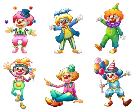 Illustration of the six different clown costumes on a white background Ilustração