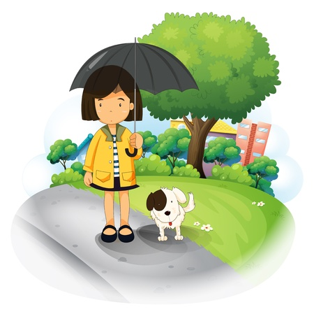 establishments: Illustration of a girl with an umbrella and a puppy at the road on a white background
