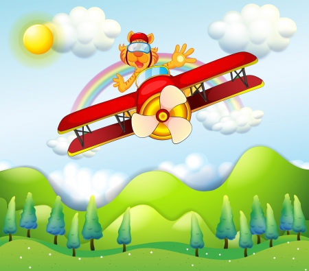 driven: Illustration of a red airplane driven by a tiger Illustration
