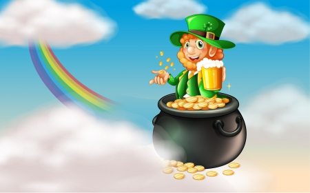 patron saint of ireland: Illustration of a man inside a pot of gold with a mug of cold beer