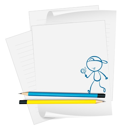 Illustration of a paper with a sketch of a young boy eating a lollipop candy on a white background Stock Vector - 18833998