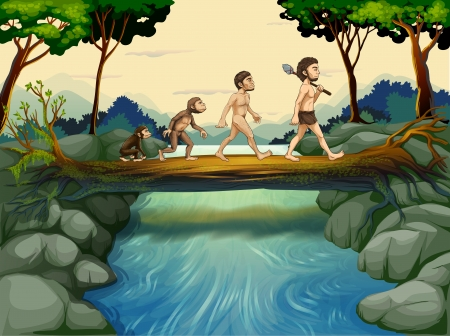 green man: Illustration of the evolution of man at the river Illustration