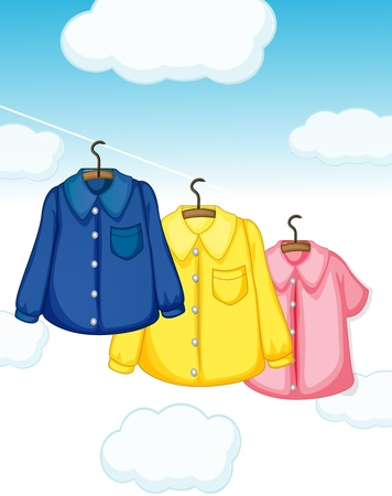 wet clothes: Illustration of the three different kinds of clothes hanging Illustration