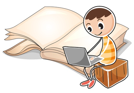 picure: Illustration of a young boy with a laptop near the big book on a white background