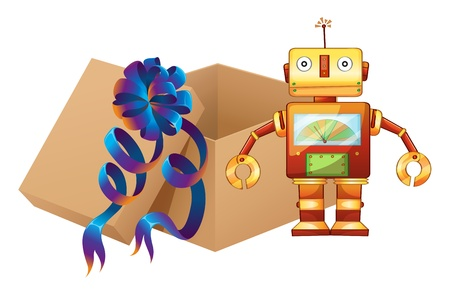 Illustration of a robot and a box on a white background Vector