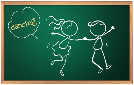 Illustration of a blackboard with a sketch of two people dancing on a white background Vector