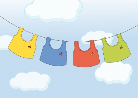 Illustration of the hanging clothes Vector