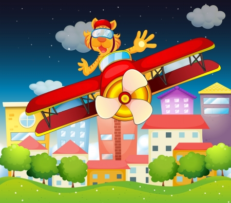 boastful: Illustration of a red plane with a boastful tiger