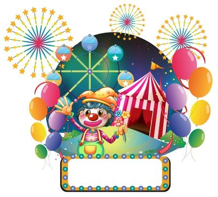 clown cirque: Illustration d'une carte avec des lumi�res de la s�rie en face du clown femelle sur un fond blanc Illustration