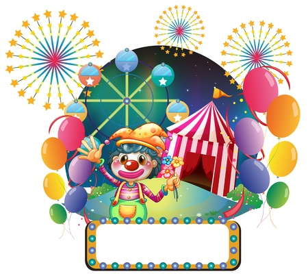 circus clown: Illustration of a board with series lights in front of the female clown on a white background Illustration