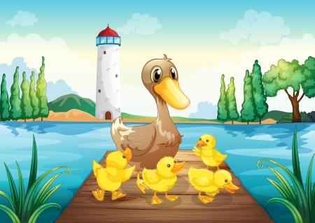 Ilustración de una madre pato con cuatro patitos en el puente de madera Ilustración de vector