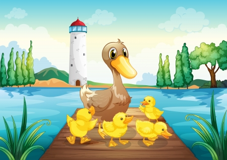 pato caricatura: Ilustraci�n de un pato de la madre con cuatro patitos en el puente de madera Vectores