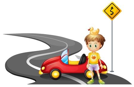 krökt: Illustration av en ung pojke och hans bil på vägen nära den gula skylt på en vit bakgrund