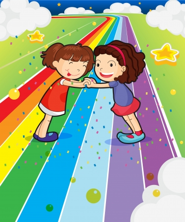 children holding hands: Illustration of the two girls holding their hands at the colorful road