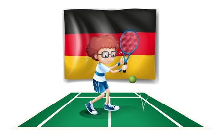 Illustration of a tennis player with the flag of Germany on a white background Stock Vector - 18835897