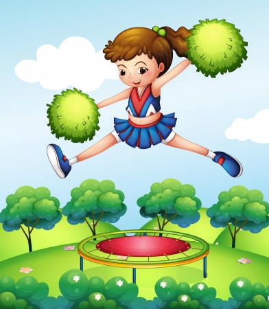 bouncing: Illustration of a cheerleader with her green pompoms