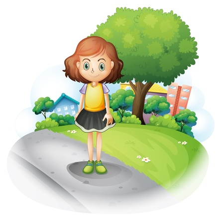 establishments: Illustration of a girl standing at the street on a white background