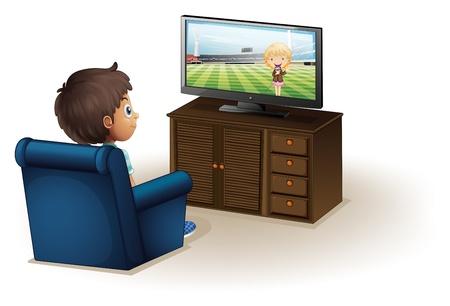 viendo television: Ilustración de un muchacho joven que mira la televisión sobre un fondo blanco